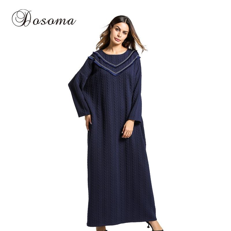 Women s Maxi Dress Tassels Thickening Knitted Cotton Winter Abaya Robe Jilbab Muslim Loose Style Middle