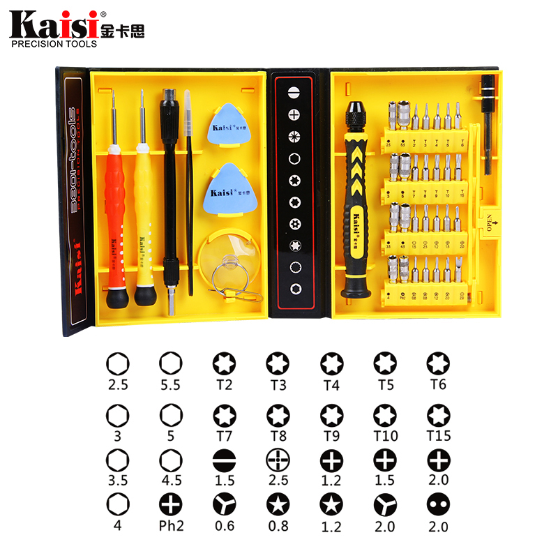 Kaisi 38 in 1 Magnetic Screwdriver Set Repair Tool Kit for iPhone/Computer/iPad/Samsung Galaxy/eye glasses/Household screwdriver hot kaisi precision 51 in 1 screwdriver set of chrome vanadium steel disassemble household tools for iphone for ipad for mac
