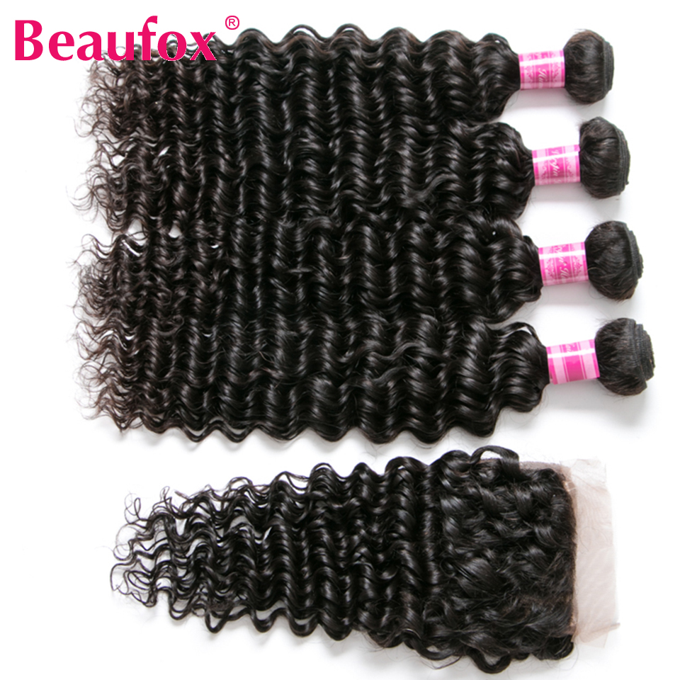Beaufox Brazilian Deep Wave Bundles With Closure Human Hair Bundles With Closure Remy Brazilian Hair Weave Bundles With Closure 3