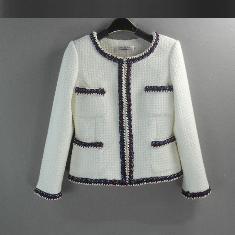 White hand woven tweed jacket 2017 autumn / winter ladies wool ...