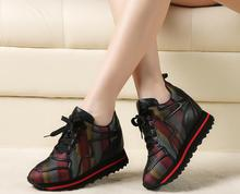 Spring and Autumn new leather plus velvet Korean version of the increase in leisure women's shoes
