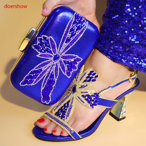 doershow African Shoe and Bag Set Italian Shoe with Matching Bag blue Shoes and Bag Set Ladies Matching Shoe and Bags SJS1 4