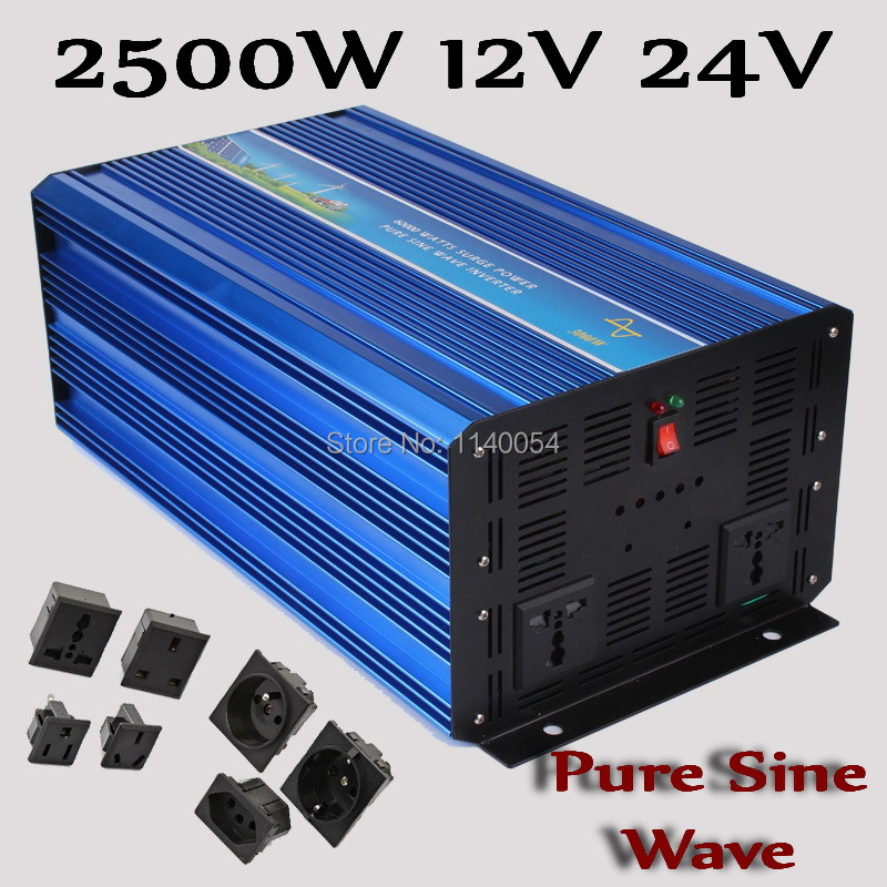 цена на 2500W Off Grid inverter 12V 24V DC to AC 110V or 230V, Pure Sine Wave Solar Wind Power Inverter 2500W with 5000W Peak Power