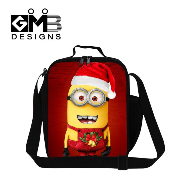Christmas Personalized Minions 3D printed insulated lunch bag for children,cute illustrations lunch box bag with strap for girls
