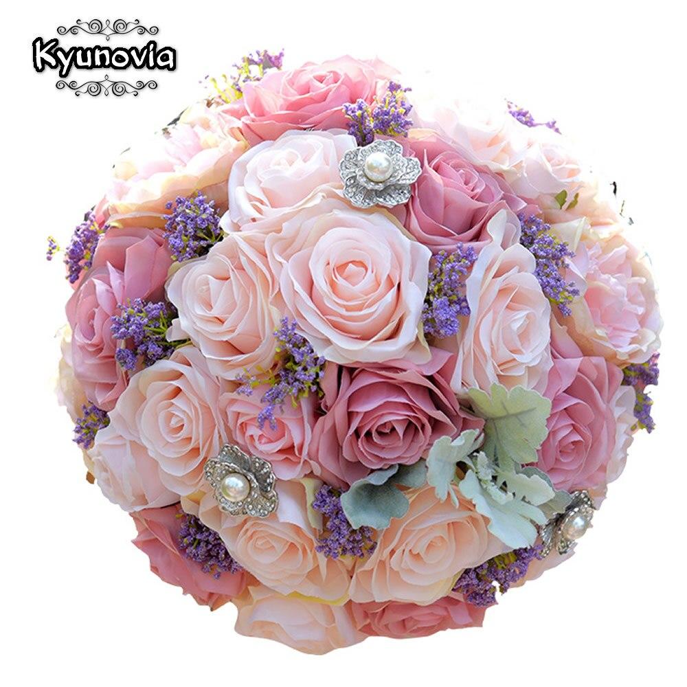 Kyunovia Silk Wedding Bouquet Artificial Home Party Deco Flowers Bridal Bouquet Rose and pink hydrangea Wedding