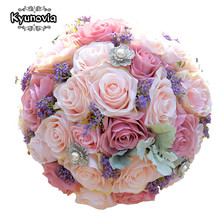 Kyunovia Silk Wedding Bouquet Artificial Home Party Deco Flowers Bridal Bouquet Rose and pink hydrangea Wedding Bouquets FE42(China)