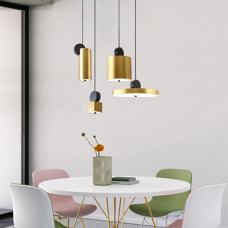 Wisiorek metalowy światła szczotkowanego brązu połączenie lampa wisząca dla pokoju gościnnego lampki nocne korytarz jadalnia bar oświetlenie kawiarnia