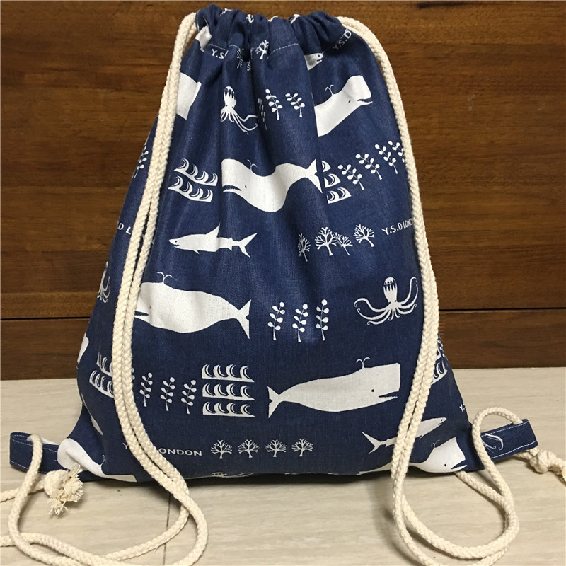 Yile Cotton Linen Drawstring Travel Backpack Book Bag Shoes Sorted Bag Whale Blue 1217-3