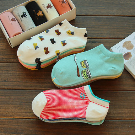5 Pair/Lot 2017 New Style Women Socks Striped/Cute Cats Sock Casual Cozy Cotton Striped Funny Socks Women Short Hosiery For Gril