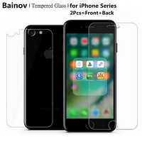 Bainov 2Pcs/Lot 9H Front and Back Tempered Glass For iPhone 7 7Plus ExplosionProof Screen Protector Film for iPhone 6 6s Plus