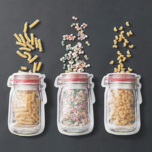 HIPSTEEN Mason Jar Shaped Food Container Plastic Bag Portable Household Clear Zipper Sealed Zip-lock Reclosable Storage Bag(China)