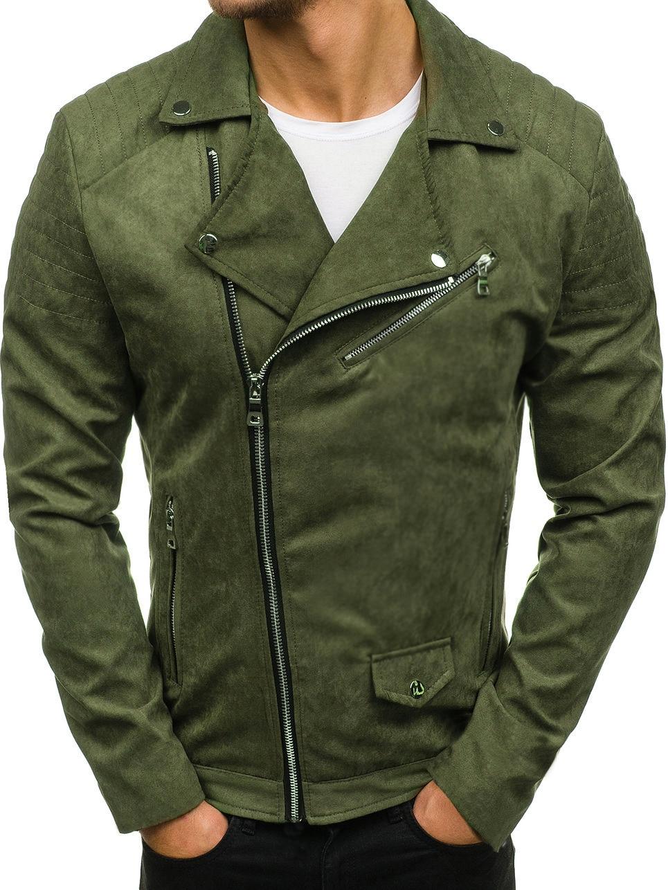 Loldeal Men's Casual Diagonal zipper suede Military Jacket Bomber Warm Winter Zipper Jacket Outwear