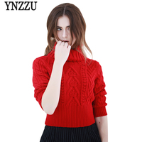 Warm Turtleneck Women Sweaters 2017 Autumn Winter Red Chic Half Sleeve Knitted Pullovers Jumper Quality Casual