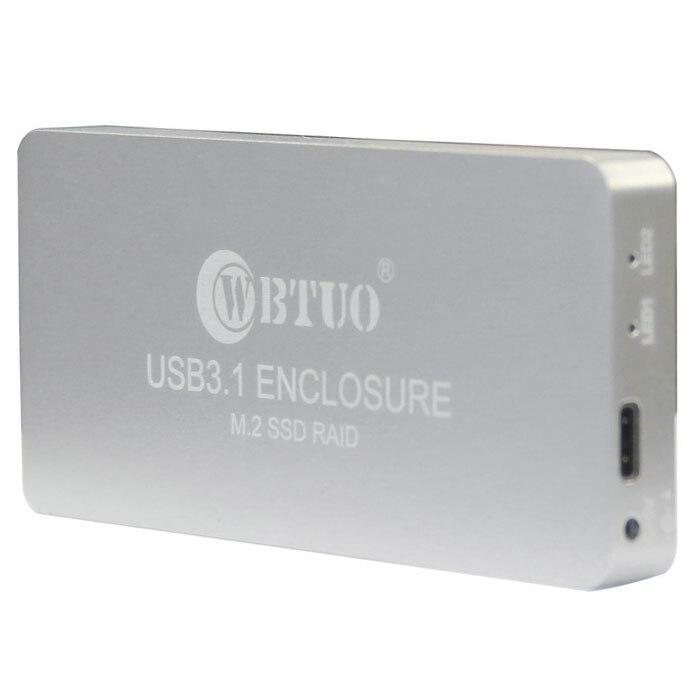 Q15745 Silver WBTUO USB 3 1 Type C to 2 Port NGFF M 2 SSD RAID