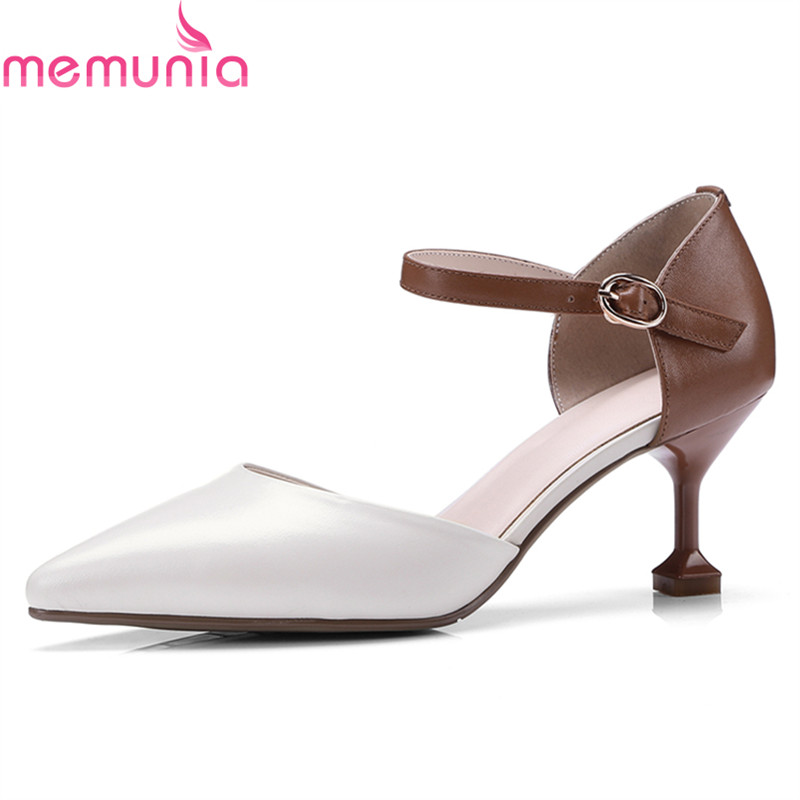 MEMUNIA new arrive hot sale genuine leather party shoes stiletto high heels poinetd toe top quality buckle women pumps memunia 2018 hot sale genuine leather