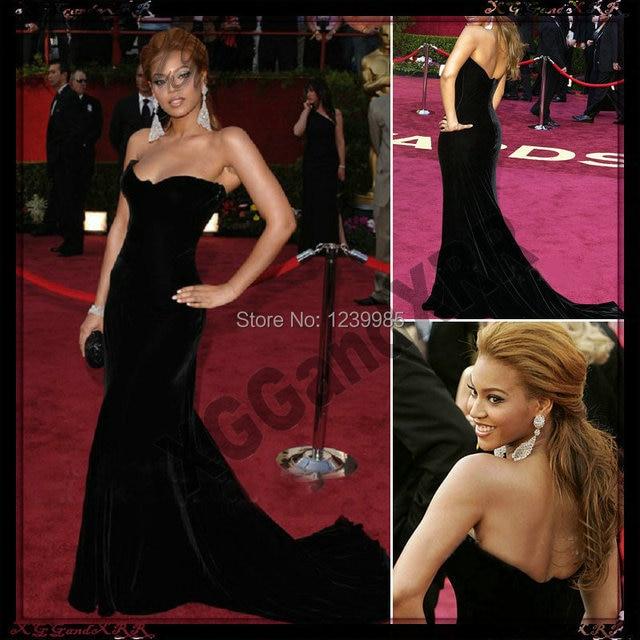 Beyonce Knowles Black Formal Dress Oscar 2017 Red Carpet Dress Sweetheart  Off Shoulder Velvet Mermaid Long Evening Dress 9e6d5b3ffd93