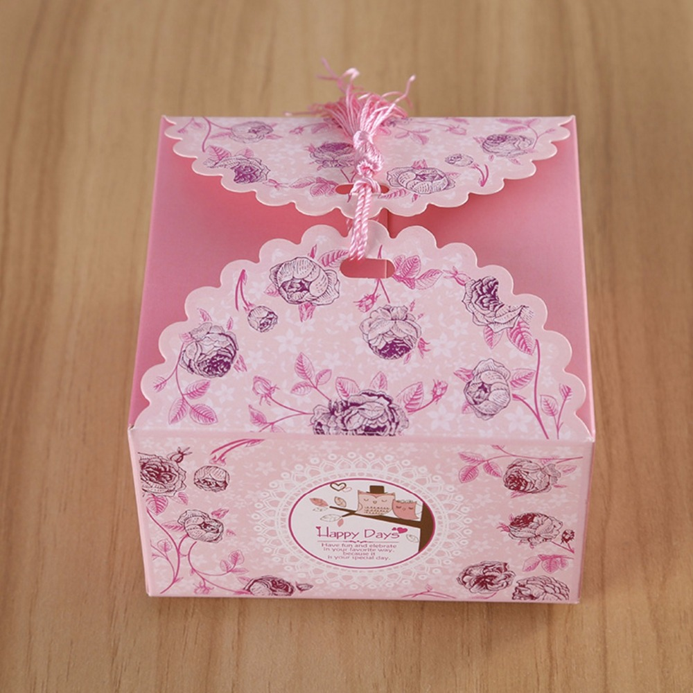 100Pcs Cute pink Tassel Lovely Bird Owl Cartoon Candy Boxes Baby ...