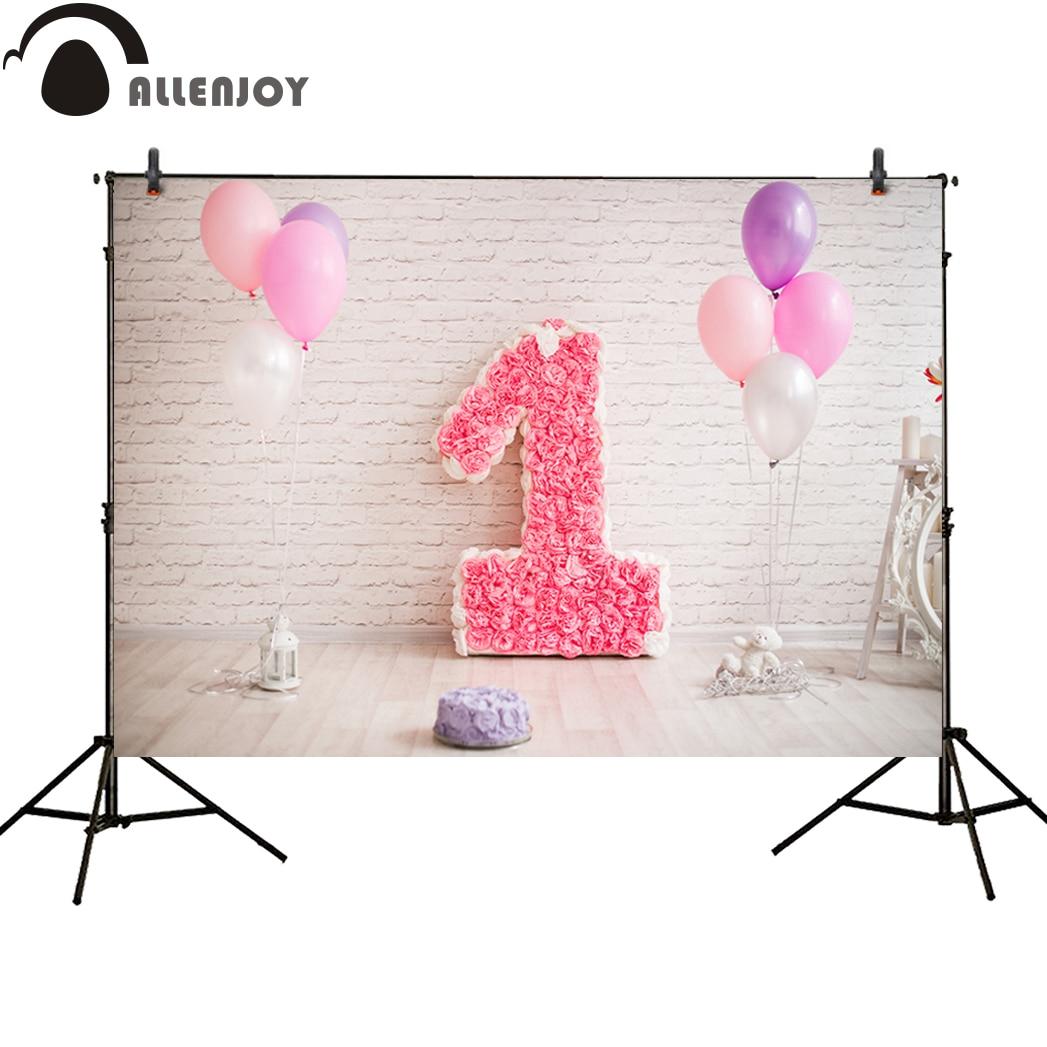 Allenjoy Foto Achtergrond Verjaardag Bloem Ballonnen Een Jaar Oude