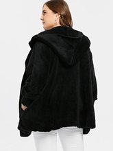 Warm Plus Size Hooded Faux Fur Jacket for Women