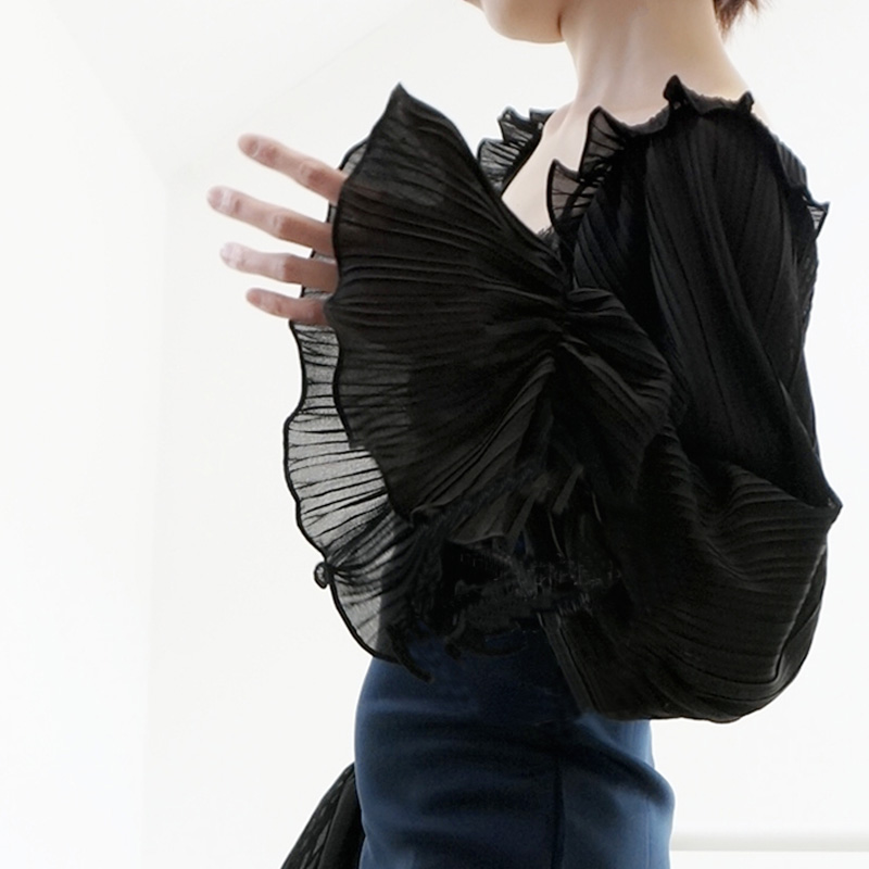Department Soft Simple Wooden Ears Chiffon Crest Collar Lace Organist  White Black  White Leaf Side Chiffon Pleated Loudspeaker