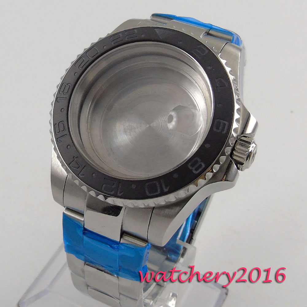 40mm Sapphire Glass Black ceramic bezel Watch Case fit ETA 2824 2836 Movement