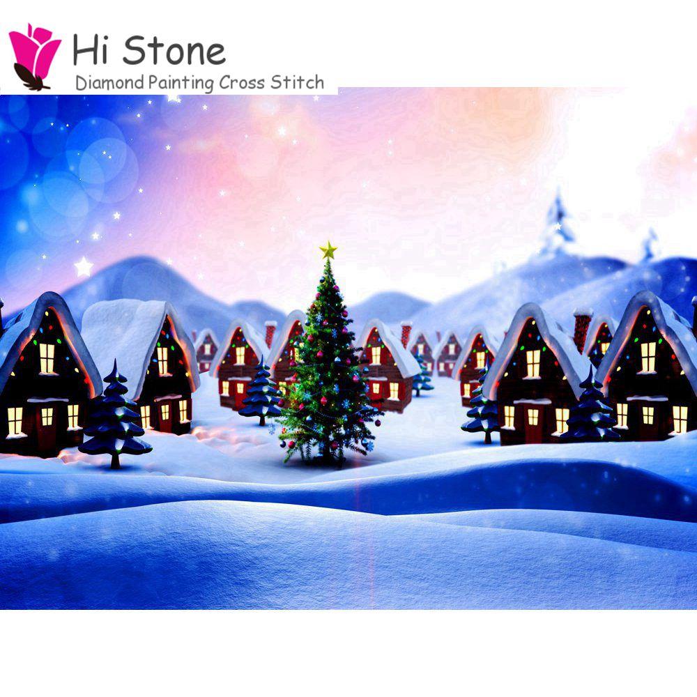 5D DIY 3D Алмаз Вышивка крестом елки снежный дом мультфильм пейзаж алмазов картина Home Decor Рождественский подарок