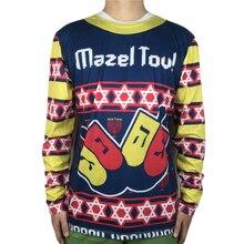 Funny Ugly Christmas T Shirt for Men Mazel Tov Jew Jewish Oy Vey Yiddish Long Sleeve Shirts Hanukkah Tee Plus Size