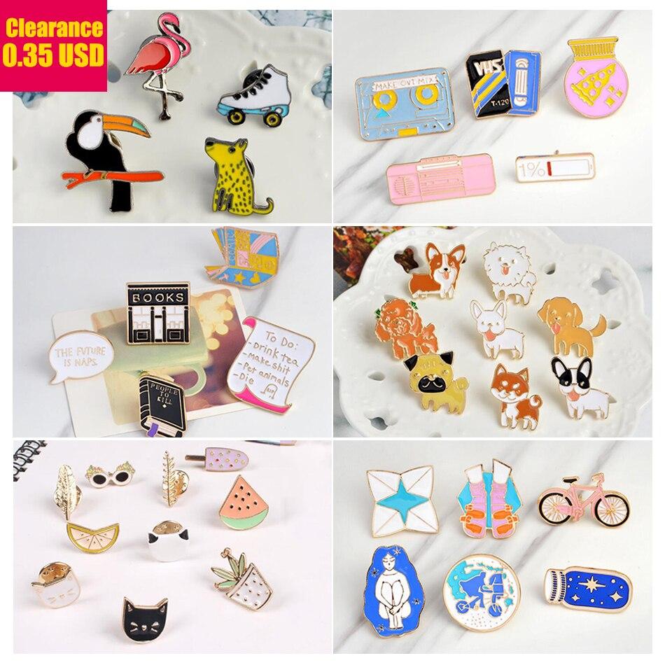 Hfarich Punk Music Lovers Enamel Pin tape DJ Vinyl Record Player badge Dog Cat Animal brooch Lapel pin Jeans shirt Jewelry Gift