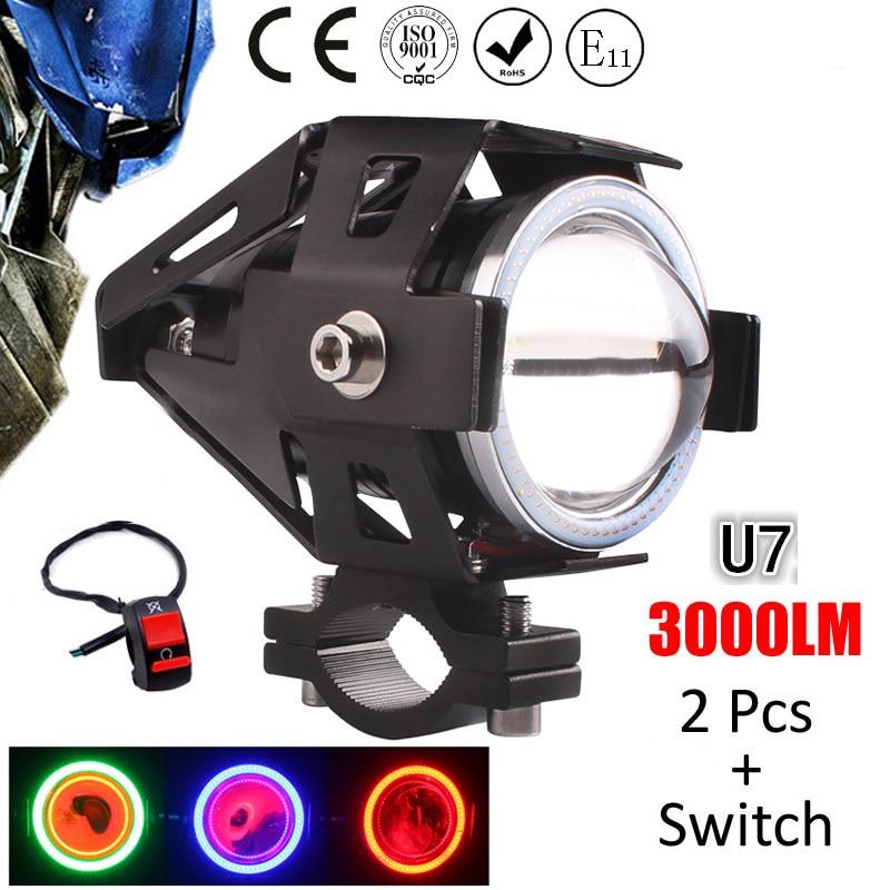 Prix pour 1 paire 125 W moto projecteur auxiliaire lampe super bright led U7 motobike phare moto conduite de voiture fog light work projecteur