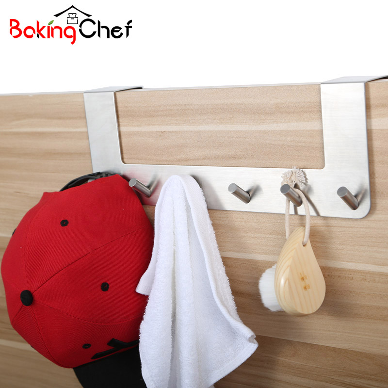 BAKINGCHEF Household Door Back Hooks Stainless Steel Clothes Hat Hanger Bathroom Kitchen Towel Rustproof Rack Accessories Case