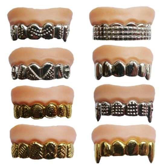 2 Pcs/lot New Funny Horror False Teeth Zombie Tooth Novelty Gag Toy Denture Costume Halloween For Party 039