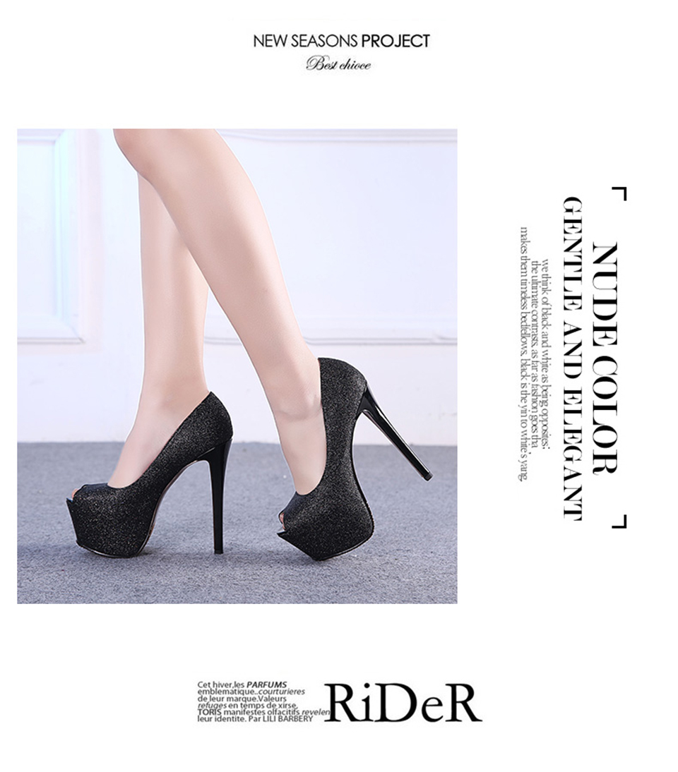 1409a6fdb06 Peep Toe Pumps Platform Size 33 Stiletto Extreme Bling Fetish Glitter High  Heels 15cm Ultra Open Shoes Rose Gold Runway Women