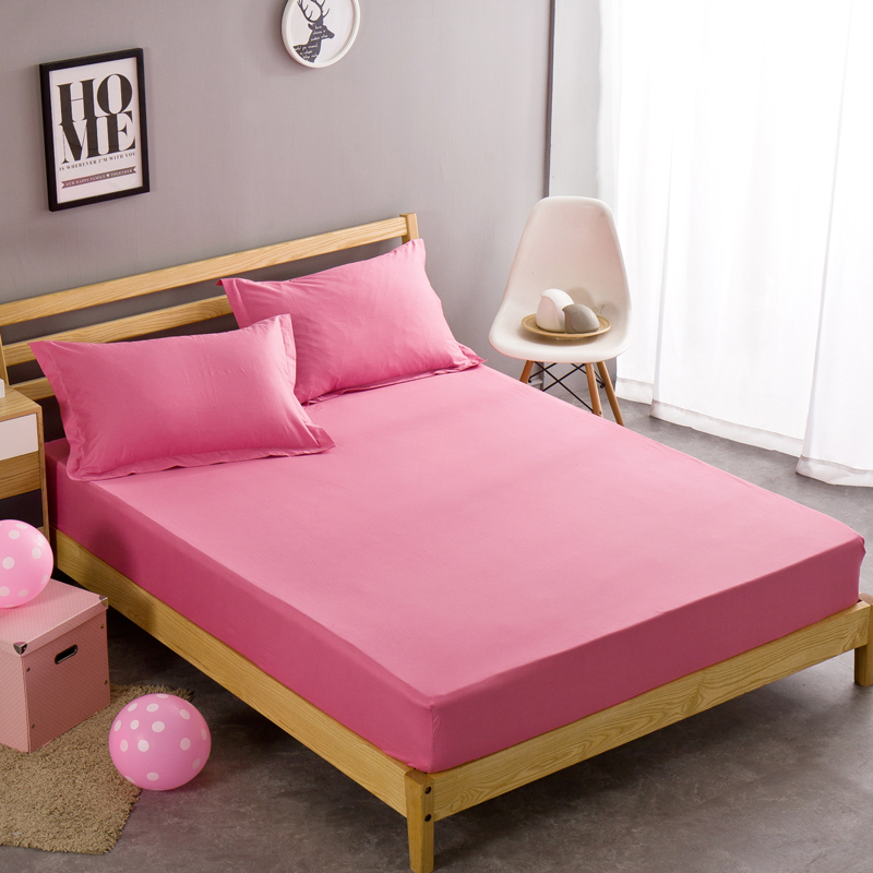 Plain Fitted Sheet Twin Full Queen King Size Pink Princess