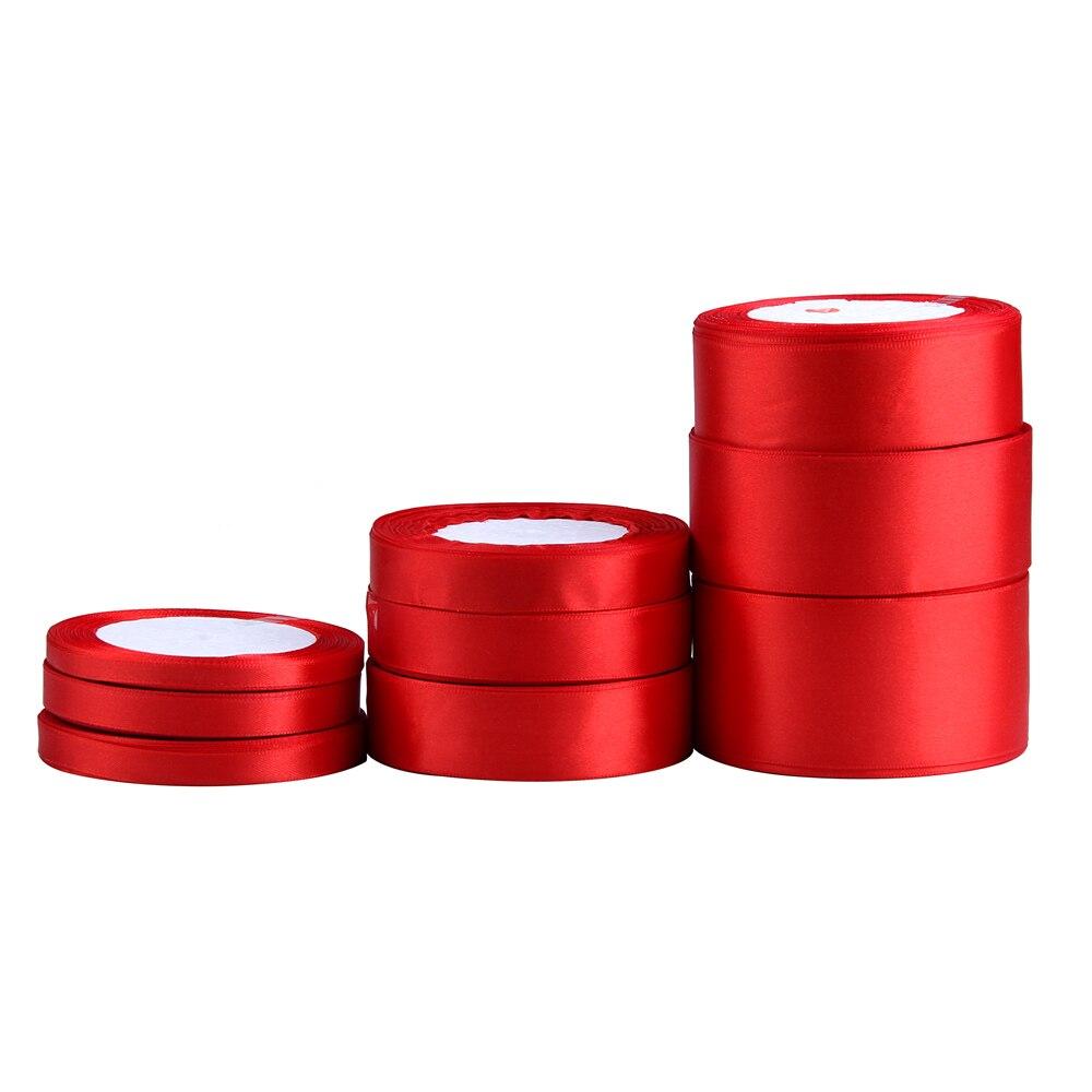 (25 ярдов/рулон) красный одно лицо атласная лента оптовая продажа подарочной упаковки рождественские ленты