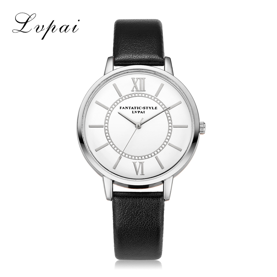 Women Silver Dress Watch Classic Vintage Leather Simple Style Lvpai Bracelet Quartz Electronic Watch Clock Ladies Female Watch