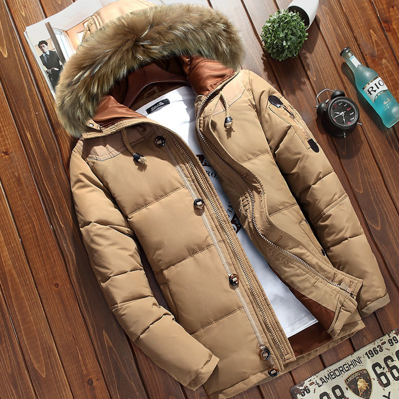 Winter Men's Thick Hooded Down Jacket Outdoor Mens Solid Color White Duck Down Hiking Coat With Fur Collar Waterproof Warm Coats
