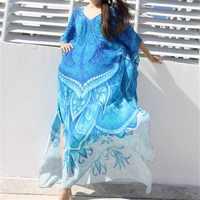 Cuello en V largo de algodón Playa cubrir Pareos de Playa Mujer ropa de Playa de talla grande Bikini cubrir up Robe Plage Playa sarong túnica