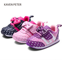 2017 Autumn Girl Running Sports Shoes Heart Print Black Pink Bowknot Baby Girls Shoes Children Casual