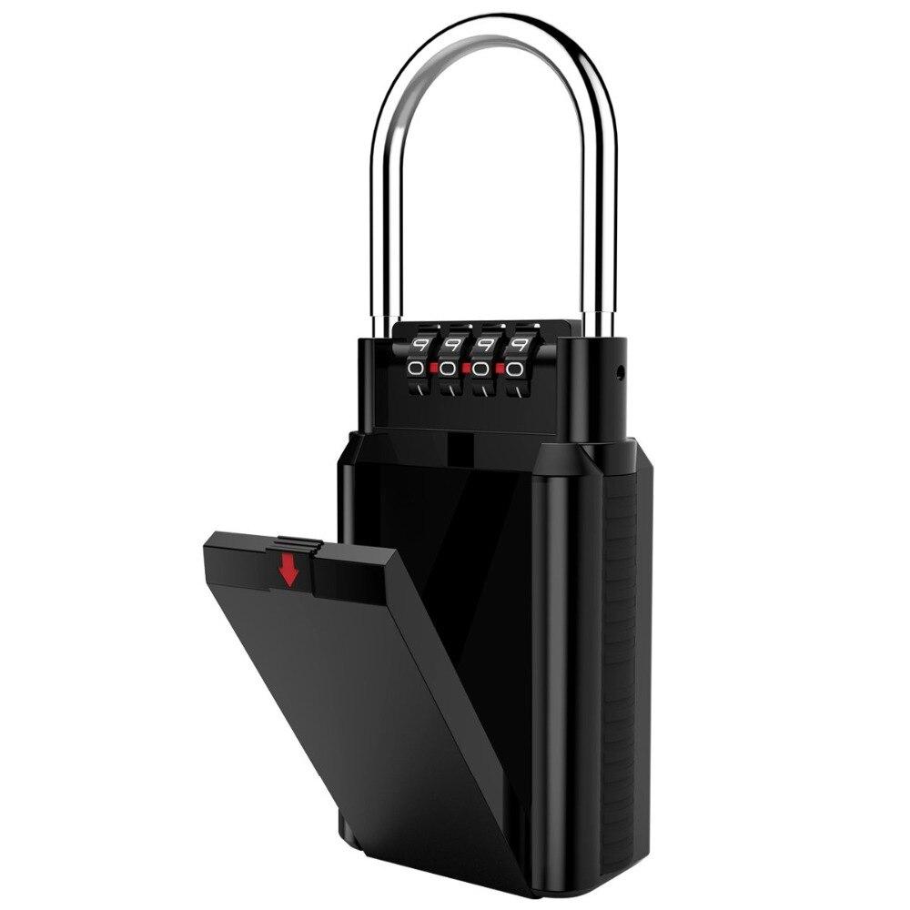 Combination Lock BoxKey Storage Lock Box 4-Digit Combination Lock, Key Lock Box Holds Up To 6 Keys Waterproof Key Lock Box