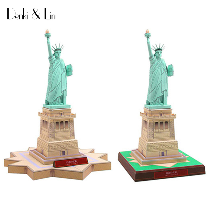 3D American Statue of Liberty Craft Paper Model Architectural Assemble Hand Work Puzzle Game DIY Kids Toy Denki & Lin