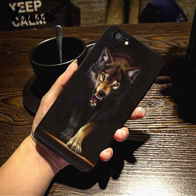 ينودا شرسة الذئب والنمر Coque قذيفة لتقوم بها بنفسك الملونة الهاتف حقيبة لهاتف أي فون 7X6 6S 8 Plus 5 5s SE 5C 11 11pro 11promax