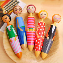 1x korean cartoon ballpoint pen kawaii school Office supplies Toy Little people sketchbook pen cute writing supplies stationery