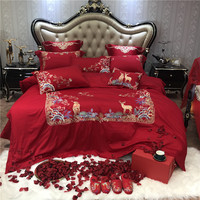 Red with gold embroidery Bedding Sets king Size Quilt Cover Bed Sheet Pillowcase Bed Cover Set for wedding Bed Linen 4/6/9pcs