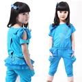 Girls Short Sleeve Clothing Sets Summer Baby Girl Clothes Sets Shirt+pants Girl Suits Reversible Infant Vestidos Kid Clothes 4-8