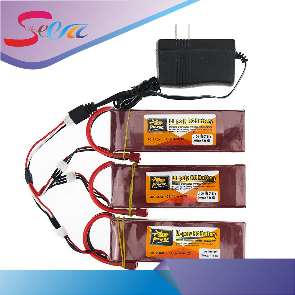 3X RC Drone Batteria 5000mah Lipo 7.4 V Battery 40C XT60 T Plug With Fast Charger 3in1 Cable Set For RC Quadcopter Helicopters 5pcs jjrc h11d h11c hq898 quadcopter drone rc lipo battery 3 7v 1100mah and charger plug cable