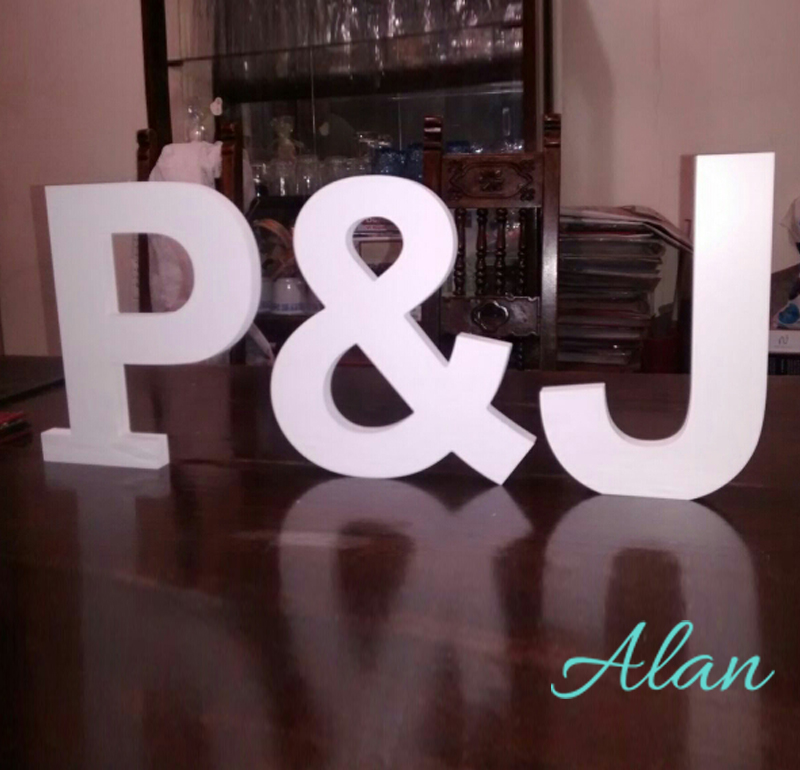 8 inches PVC Pure White Letters - Freestandinge Initial Set - Personalized Table Signs - Wooden Letters