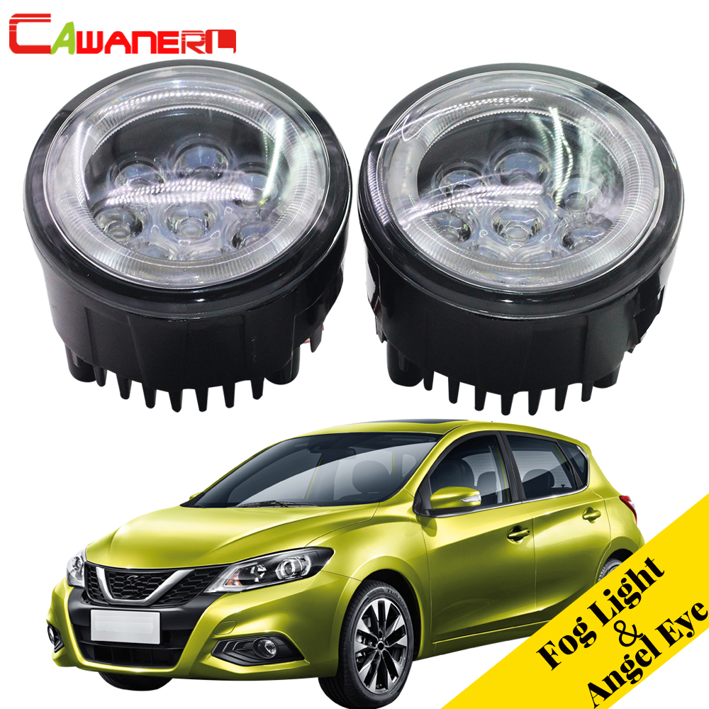Cawanerl For Nissan Tiida 2007 2008 2009 2010 2011 2012 Car Styling LED Lamp Fog Light Angel Eye Daytime Running Light DRL 12V akd car styling led fog lamp for bmw e90 drl 2010 2012 320i 325i led daytime running light fog light parking signal accessories page 8