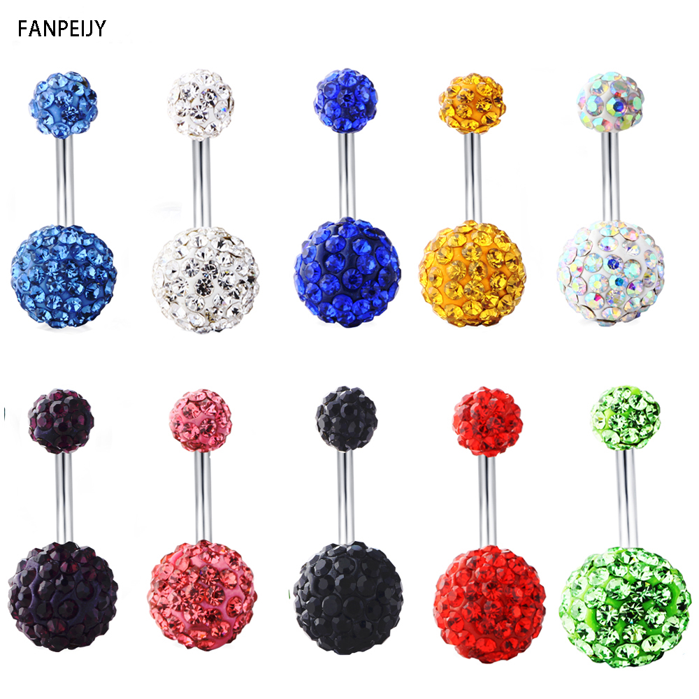 Fanpeijy 1Pcs Belly Button Rings Shamaballa Ball Screw -6733