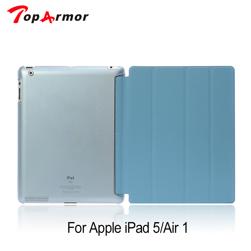 TopArmor Case For iPad Air Smart Sleep Wake Silk Leather Capa For iPad 5 Clear Three Folded Stand Cover ipad air smart case в смоленске