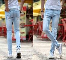 Голубые джинсы мужчины 2016 новые поступления уменьшают подходящий джинсы корейской мода бесплатная доставка